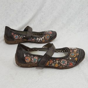 Rieker Mary Jane Leather Floral Canvas Flat Shoes